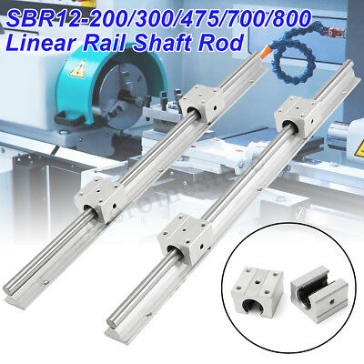 2pcs SBR12-200 300 475 700 800mm Linear Rail Shaft Rod + 4 SBR12UU Bearing