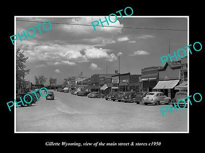 OLD LARGE HISTORIC PHOTO OF GILLETTE WYOMING, THE MAIN STREET & STORES c1950