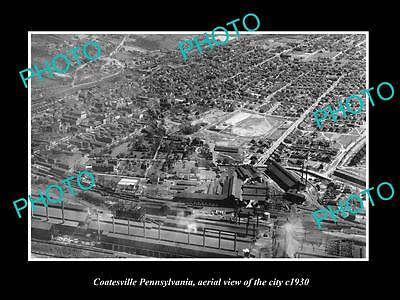 OLD LARGE HISTORIC PHOTO OF COATESVILLE PENNSYLVANIA, AERIAL VIEW OF CITY c1930