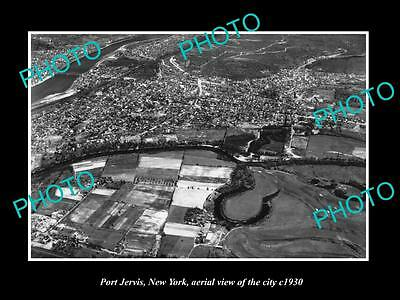 OLD LARGE HISTORIC PHOTO OF PORT JERVIS NEW YORK, AERIAL VIEW OF CITY c1930