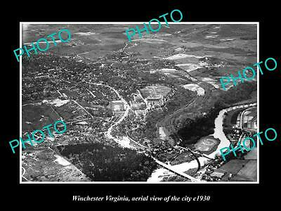 OLD LARGE HISTORIC PHOTO OF WINCHESTER VIRGINIA, AERIAL VIEW OF THE CITY c1930