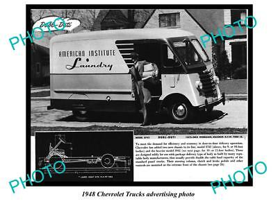 Old Large Historic Photo Of 1948 Chevrolet Truck Advertisment, Dubl-Duti