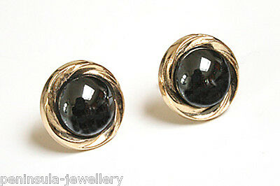 9ct Gold Hematite Button Stud Earrings Made in UK Gift Boxed studs