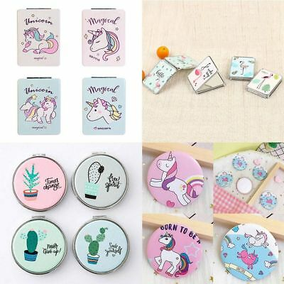 1 Pc Cute Cartoon Unicorn Double Sided  Makeup Compact Cosmetic Pocket Mirror