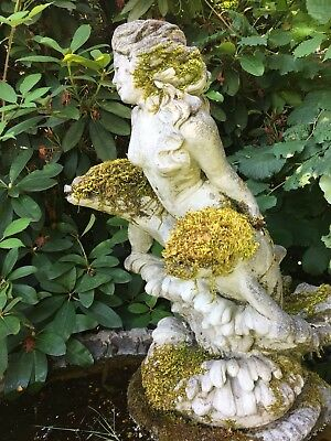 Mermaid With Dolphins - Concrete Statuary - Vintage