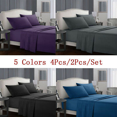 4 Pieces Bed Sheets Set Pillowcase 1000TC Flat and Fitted Queen King Super Size