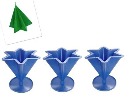 """Set x 3, 6 Pointed Tapered Star Shaped Candle Mould with Base 4.3"""" UK Made S7602"""