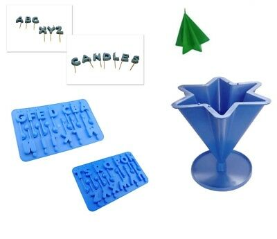 Set x 3, A-Z Alphabet Trays Birthday Letters & 6 Point Star Candle Mould. S7594