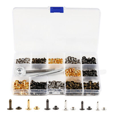 180 Set Leather Rivets Double Cap Rivets Metal Fixing Tool Kit for Leather Craft