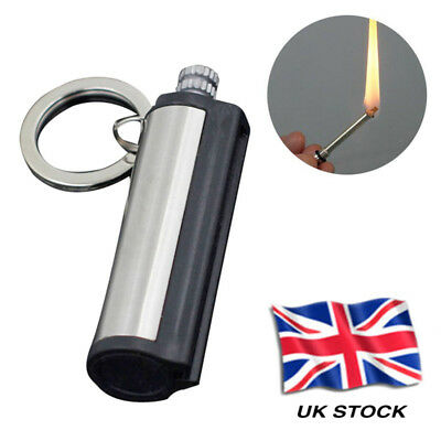 Steel Fire Starter Flint Match Lighter Keychain Camping Emergency Survival UK