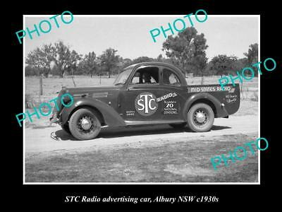 OLD LARGE HISTORICAL PHOTO OF THE STC RADIO ADVERTISING CAR c1930s
