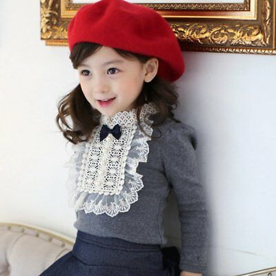 Toddler Baby Kids Girls Lace Bowknot Cotton Long Sleeve T-Shirt Blouse Top USA