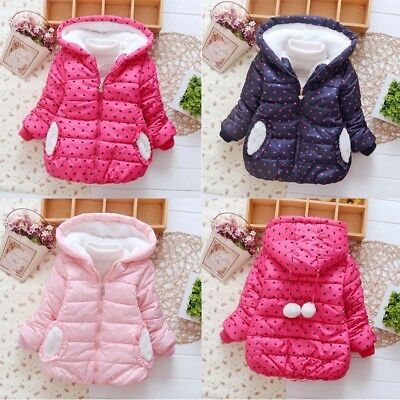 Sweet Kids Baby Girl Winter Heart Print Hooded Coat Jacket Thick Warm Outerwear