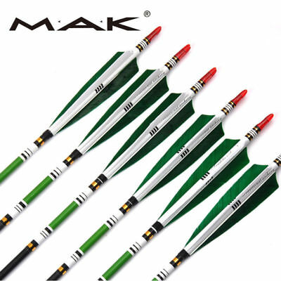 """US 33"""" Archery Carbon Arrows SP500 w/Real Turkey Feather F Compound Bow Hunting"""