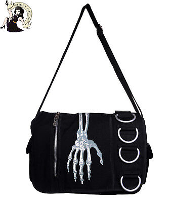 BANNED SKELETON HAND MESSENGER BAG goth HANDBAG emo shoulder bag BLACK