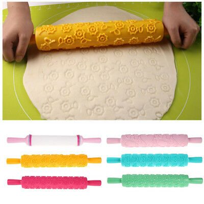 1 X Embossed Rolling Pin 6 Designs Cake Fondant Textured Decorating Craft Tools