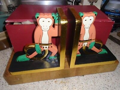 Wooden Chinese Monkey Books End In Wooden Presentation Box