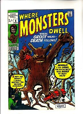 Where Monsters Dwell 6 reprinting 1st app of Groot
