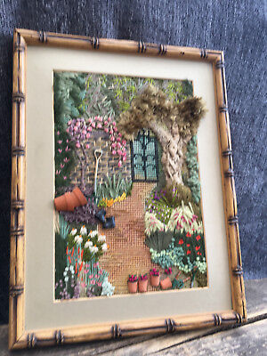 Vintage large handmade landscape garden scene embroidery bamboo style frame