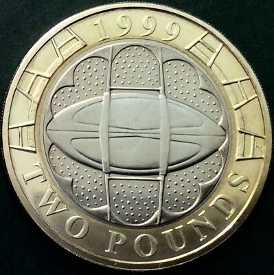 Brilliant Uncirculated £2 Coin Struck To Commemorate The 1999 Rugby World Cup.