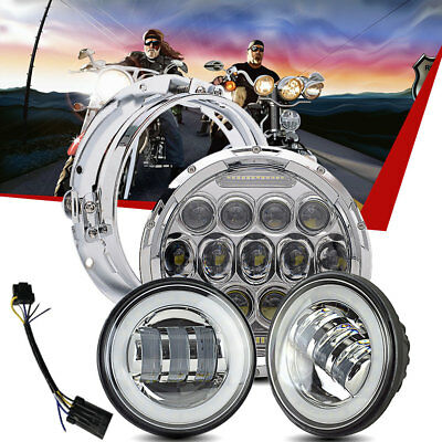 """7"""" Chrome LED Daymaker Projector Headlight + 2 Passing Lamp For Harley Touring"""