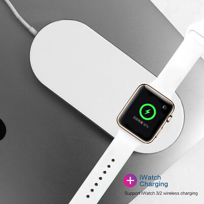 2 in 1 Qi Fast Wireless Charger Charging Pad for iPhone X/8/Plus Apple Watch 2/3
