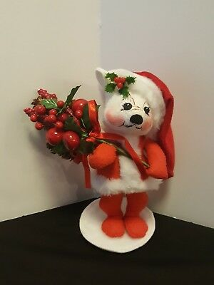 Annelee Christmas Collectible Bear Holding Christmas Tree Santa Outfit