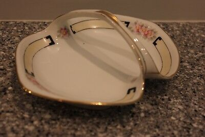 Nippon White Pattern Hand Painted Oval Basket with Handle Beautiful Gold Trimmed