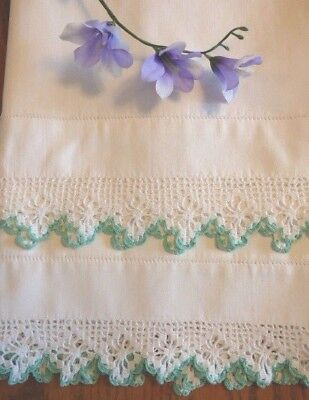Vintage Hand Crocheted Lace Trimmed King Size Pillowcases
