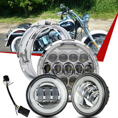 """7"""" Chrome LED Daymaker Projector Headlight + 2 Passing Lights For Harley Touring"""