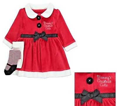 Baby Girls Red Christmas Xmas Santa Dress Tights Outfit Costume Box Gift festive