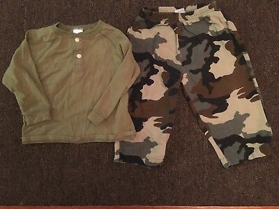 Boys Outfit Size 18-24 Months - Green  L/Sleeve Top & Green Camouflage Pants