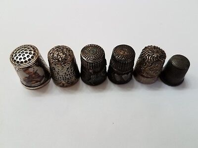 Assorted Lot Of 6 Silver Plated Thimbles