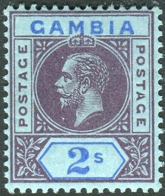 "GAMBIA-1912-22 2- Purple & Blue/Blue ""SPLIT A"".  A mounted mint example Sg 99a"