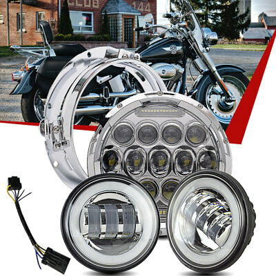 """7"""" Chrome LED Projector Daymaker Headlight + 2 Passing Lights Fit Harley"""