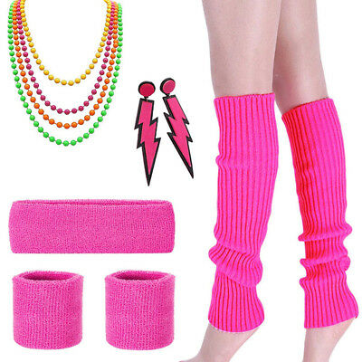 Disco Neon 80s 70s Beads long Necklace Bracelet Party Dance Costume Jewellery 6A