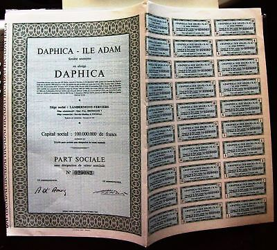 French bond Daphica-île Adam-Daphica - Island Adam 1968 stock certificate