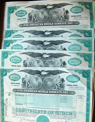 Lot of 5 pieces USA stock certificate Pan American World Airways