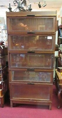Vintage Globe Wernicke 5 Stack Barrister Lawyers Bookcase W/ Base & Top