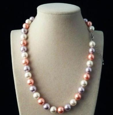 """10mm AAA white pink purple Multicolor south sea shell pearl necklace 18"""" LL001"""