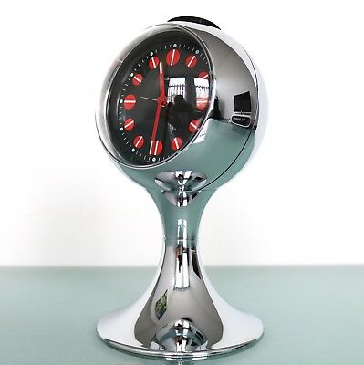 BLESSING Alarm TOP! CLOCK Mantel RETRO Vintage CHROME Pedestal Space Age Germany