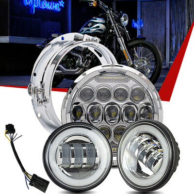 """7"""" Chrome LED Projector Daymaker Headlight + 2 Passing Lights For Harley"""