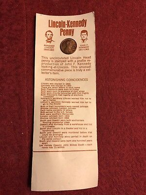 1973 COMMEMORATIVE LINCOLN-KENNEDY Etched Penny - Still on Card