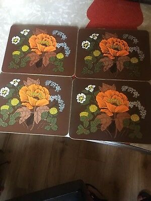 Set of 4 Vintage Retro Laminated Table Mats 70's Marks and Spencer St Michael
