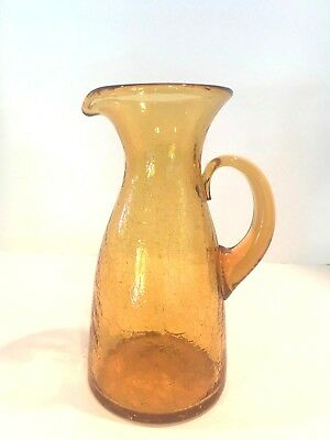Vintage 1950s Blenko glass pitcher crackle glass mid century modern~Topaz