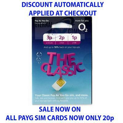 PAYG O2 CLASSIC MULTI SIM CARD **NOW ONLY 20p** (DISCOUNT APPLIED AT CHECKOUT)