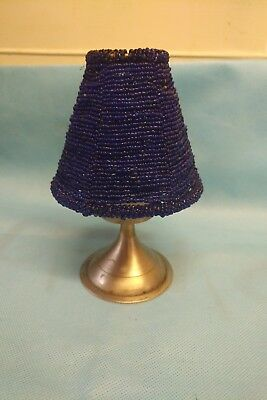 Pretty Blue beaded tealight lamp used