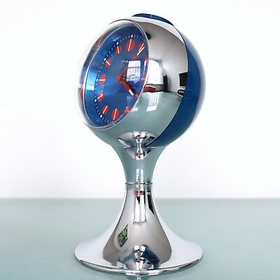 BLESSING Alarm CLOCK Mantel RETRO TOP! Vintage CHROME Pedestal Space Age Germany
