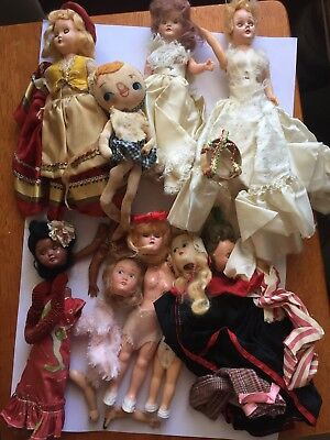 Vintage 1940's Doll Lot W/ Clothing Accessories Parts