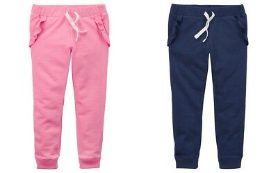 Carter's Toddler Girls' TWO Pair Joggers w/ Ruffled Pockets -Pink & Navy NWT
